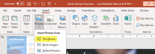 How to insert a picture in PowerPoint saved on device.