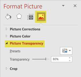 Picture transparency sidebar